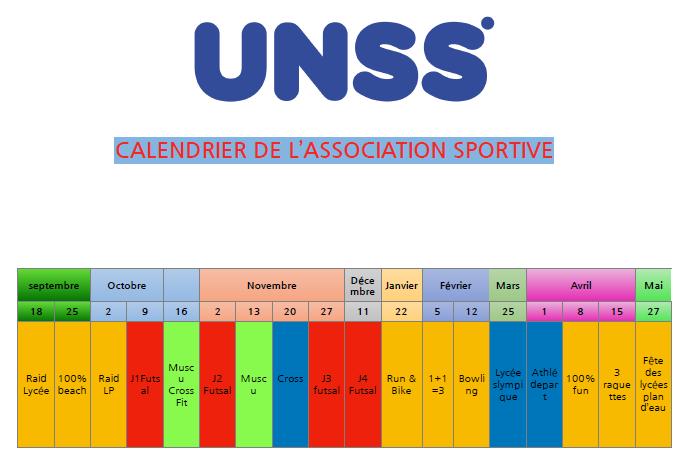 Programme UNSS 2019-2020