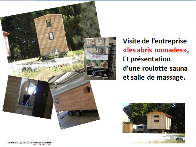 SORTIE CLASSES  1ère et Terminale Bac TCB à Magnac-Lavalette-Villars  Visites Entreprise «Les Abris Nomades», Forêt du Château de la Mercerie      Le 19 septembre 2019